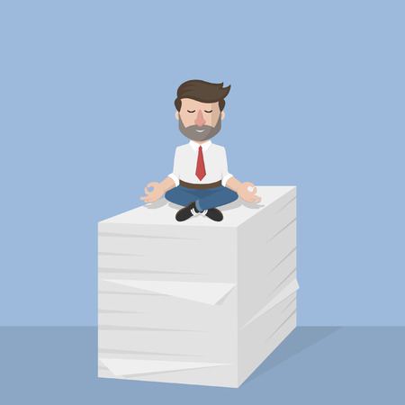 overwork: Business man enjoyed the many task