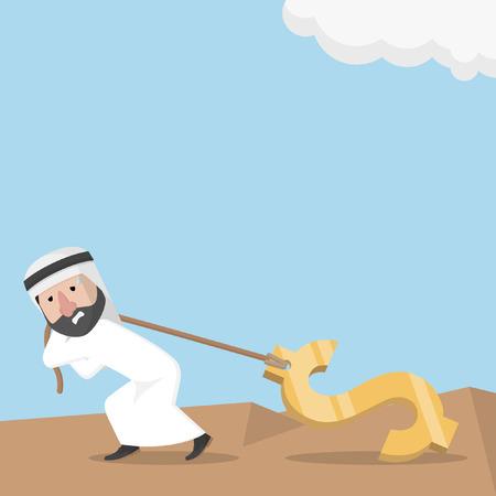 dolar: hombre de negocios árabe tirando grandes dolar Vectores