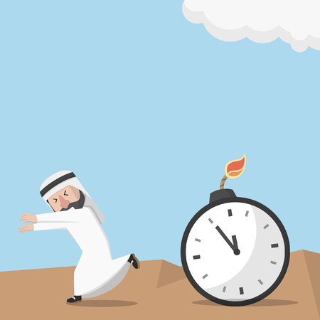 patience: Arabic business man boom exploding