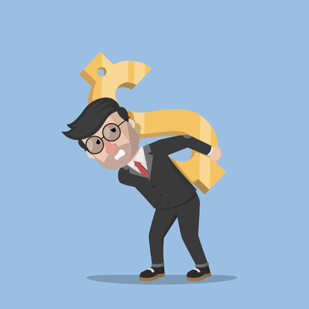 man carrying: Business man carrying gold dollar Illustration