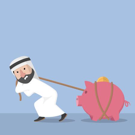 pulling: Arabic busines man pulling piggy bank