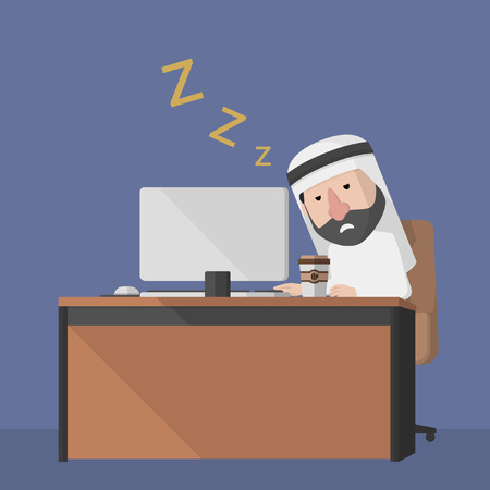 sleepy man: Arabic business man feel sleepy Illustration