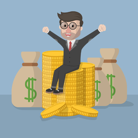 money sack: Very happy business man with money sack and coin