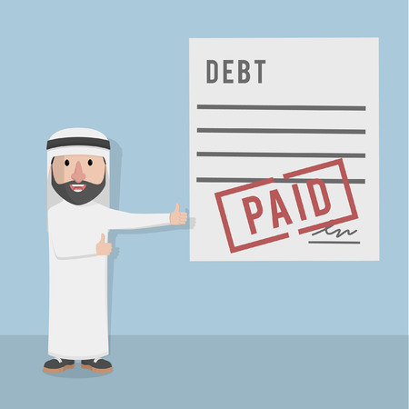 paid: businessman arabian paid the debt Illustration