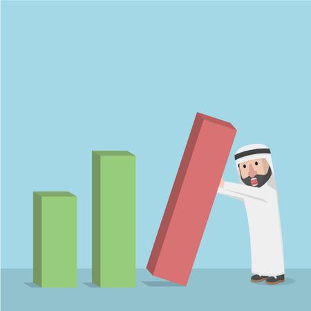 derrumbe: árabe empresario gráfico de barras colapso Vectores