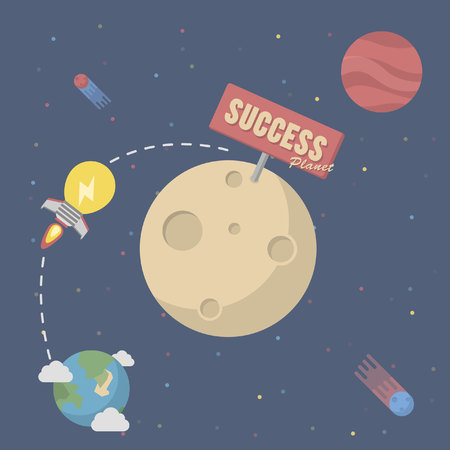 entrepreneurs: entrepreneurs bring ideas to the planet rocket to success Illustration