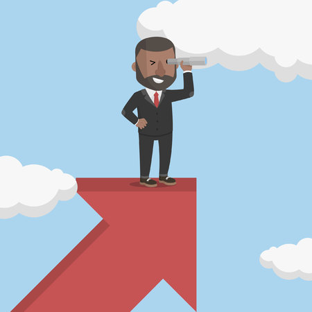 searching: businessman looking for progress Illustration