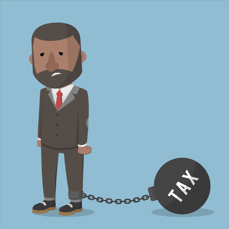 burdened: businessman burdened with taxes ball Illustration