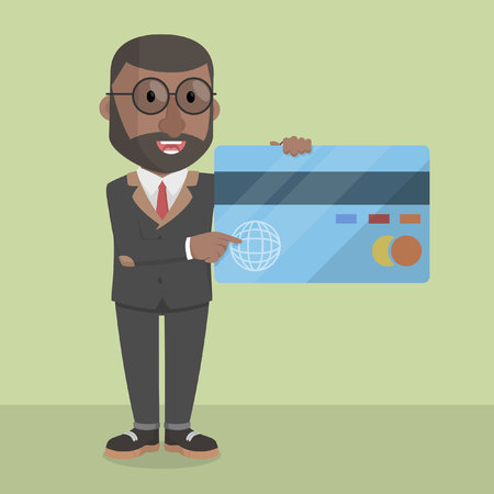 hand holding id card: businessman showing credit card Illustration