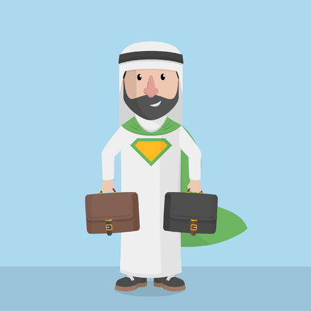 two: arabian businessman super carrying two briefcase Illustration