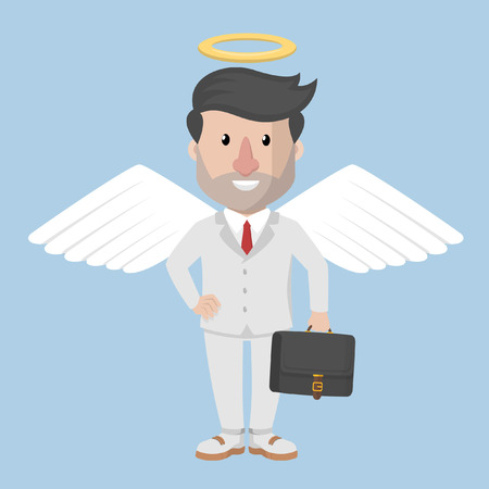 businessman engel carrying the briefcase Çizim