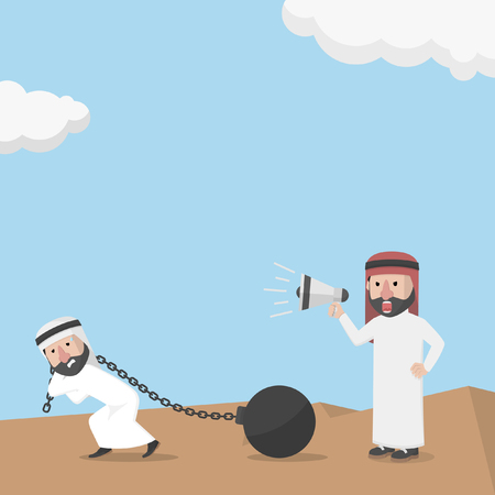 businessman using a megaphone: forced to work hard by arab businessman using a megaphone to shout