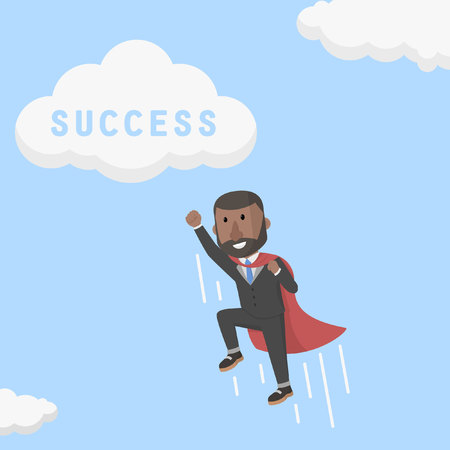 flew: super businessman flew into a cloud of success Illustration