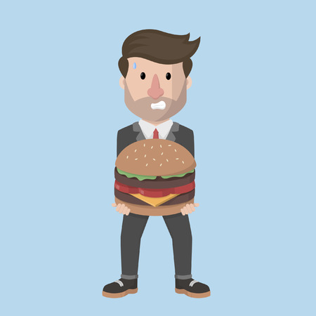 carrying: businessman carrying a large hamburger Illustration
