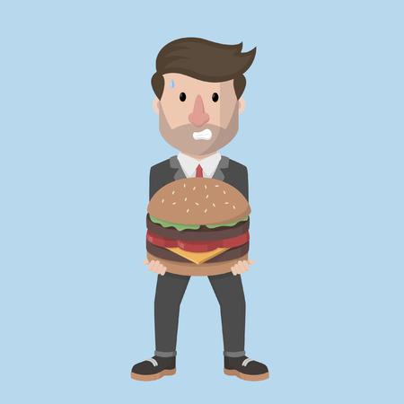 carrying: businessman carrying a large hamburger Illustration
