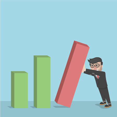 collapse: the collapse of the bar graph businessman Illustration