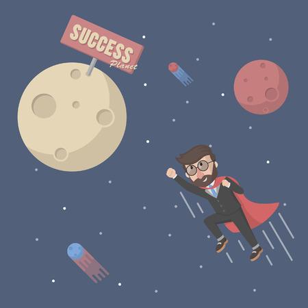 entrepreneurs: fly to successful entrepreneurs planet Illustration