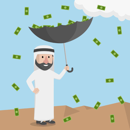 money rain: money rain with an umbrella businessman arabian pick