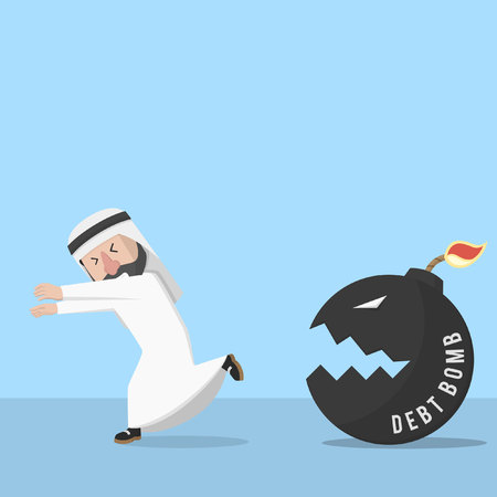 chased: businessman arabian chased by debt bomb