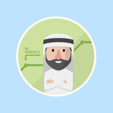bussinessman: businessman arabian in circle progress Illustration