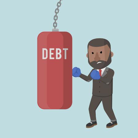 sack: businessman hitting the sack debt