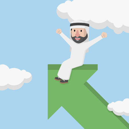 rises: arab businessman sitting in arrow that rises to the sky Illustration
