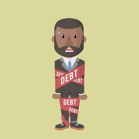 bound: businessman bound by debt Illustration