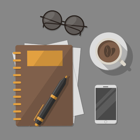 handphone: book handphone eyeglasses and coffee