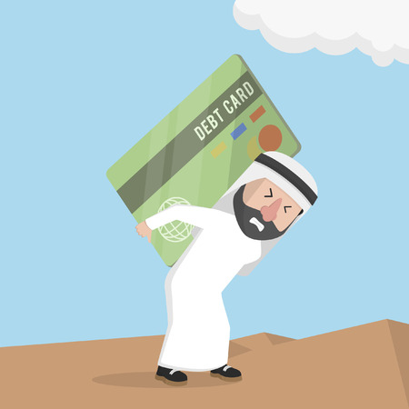 carrying: arabian businessman carrying a large debt card