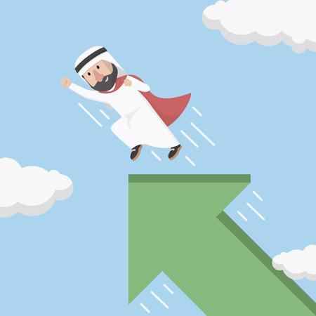 flew: arab super businessman premises flew up arrow