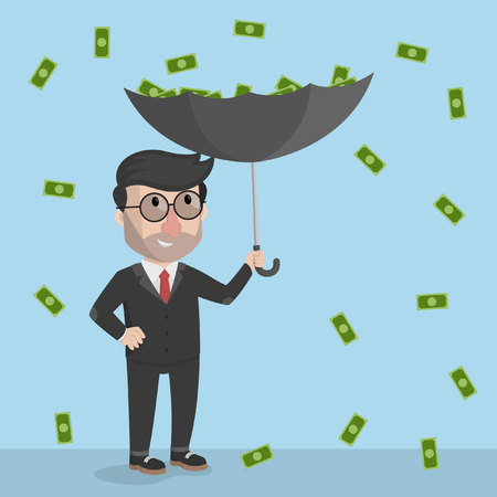 money rain: money rain with an umbrella business man pick Illustration