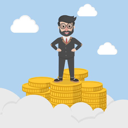 pinnacle: businessman standing on the pinnacle of success