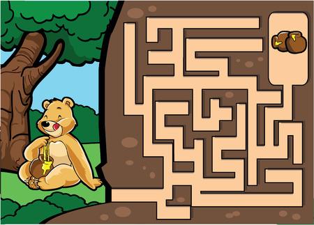 a jar stand: Maze game : Bear and honey