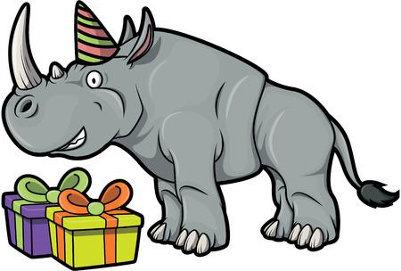 Rhino avec un cadeau en utilisant le costume de fête Birhtday