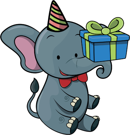birthday party: elephant using birthday party costume