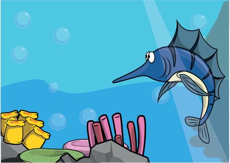 sea water: Sea marlin illustration under water scenery