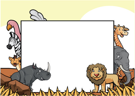 animals together: wild animals together at savannah with big banner .eps10 vector cartoon illustration