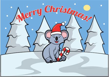 christmass: Merry christmass banner with koala