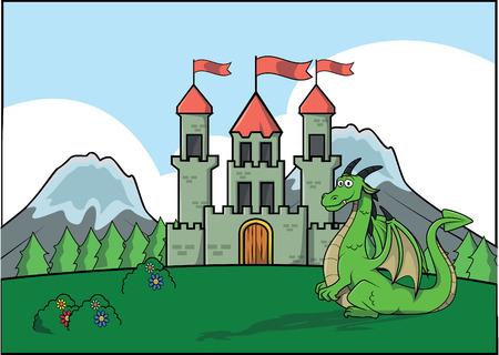 ドラゴンと城の図