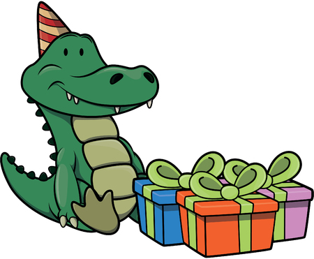 birthday party: crocodile using birthday party costume Illustration