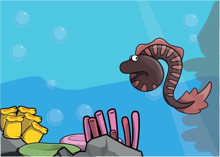 eel: Sea eel illustration under water scenery