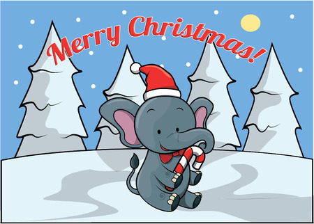 christmass: Merry christmass banner with elephant