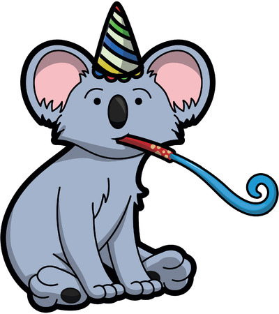 birthday party: koala using birthday party costume Illustration