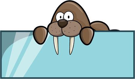 the walrus: Walrus banner  cartoon illustration design Illustration