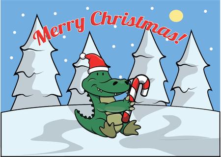 christmass: Merry christmass banner with crocodile