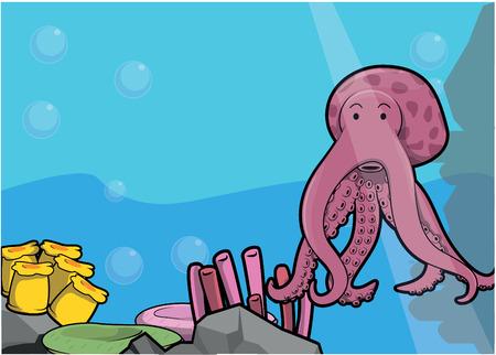 sea water: Sea octopus illustration under water scenery