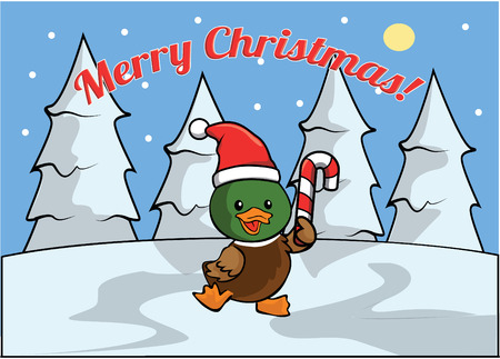 christmass: Merry christmass banner with duck