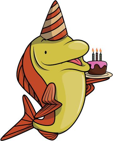 salmon fish: Salmon fish using birthday party costume Illustration