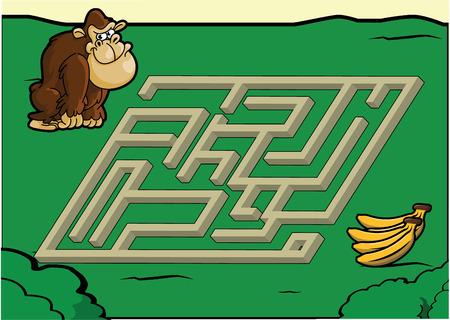 abstract gorilla: Maze game : gorilla and banana