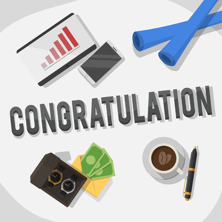 congratulation business illustration concept Illustration
